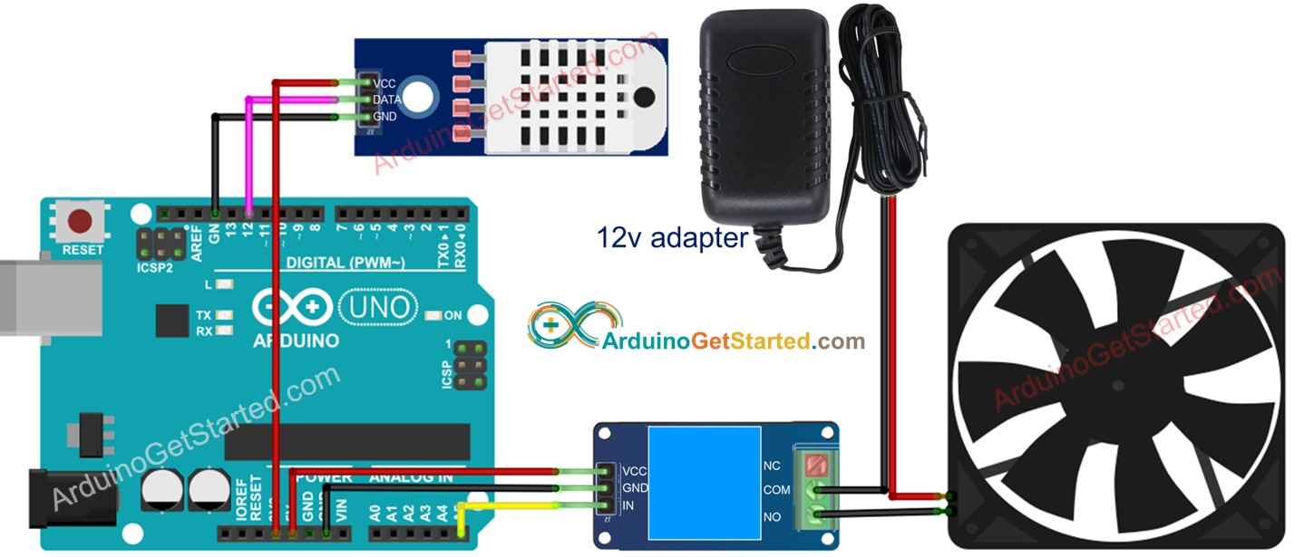 Arduino cooling fan system wiring diagram
