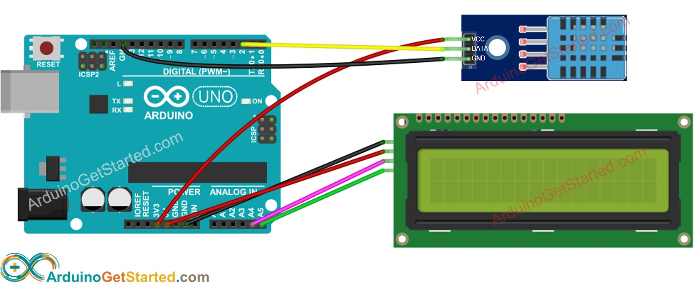 Arduino DHT11 temperature and humidity LCD Wiring Diagram