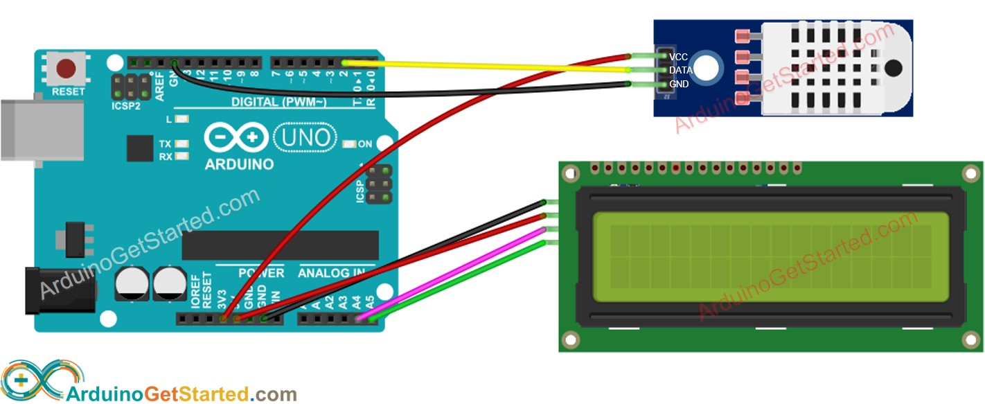 Arduino DHT22 temperature and humidity LCD Wiring Diagram