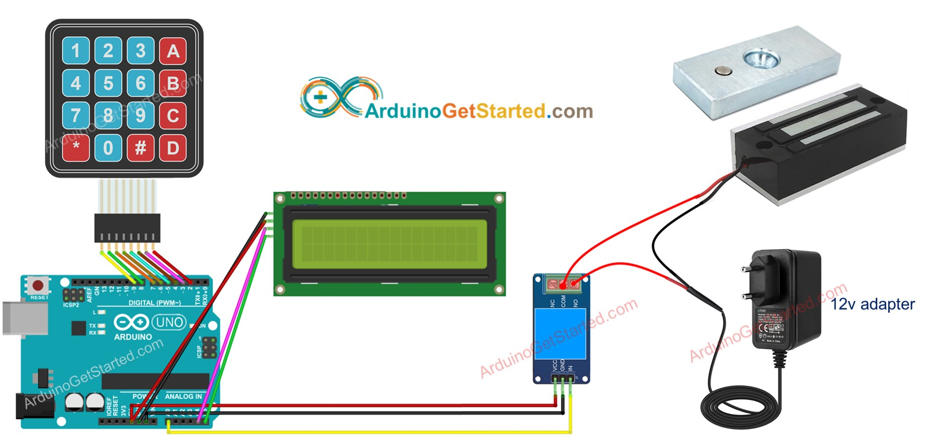 Arduino door lock system lcd wiring diagram