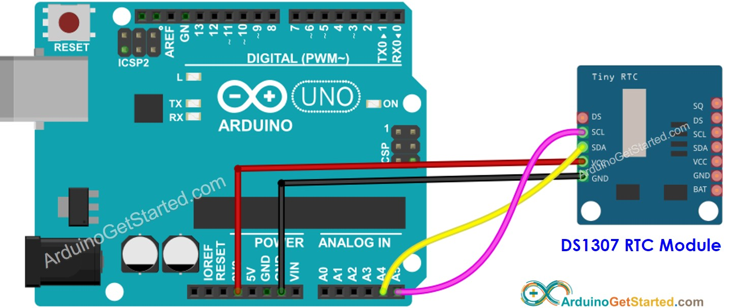 Arduino Real-Time Clock DS1307 Wiring Diagram