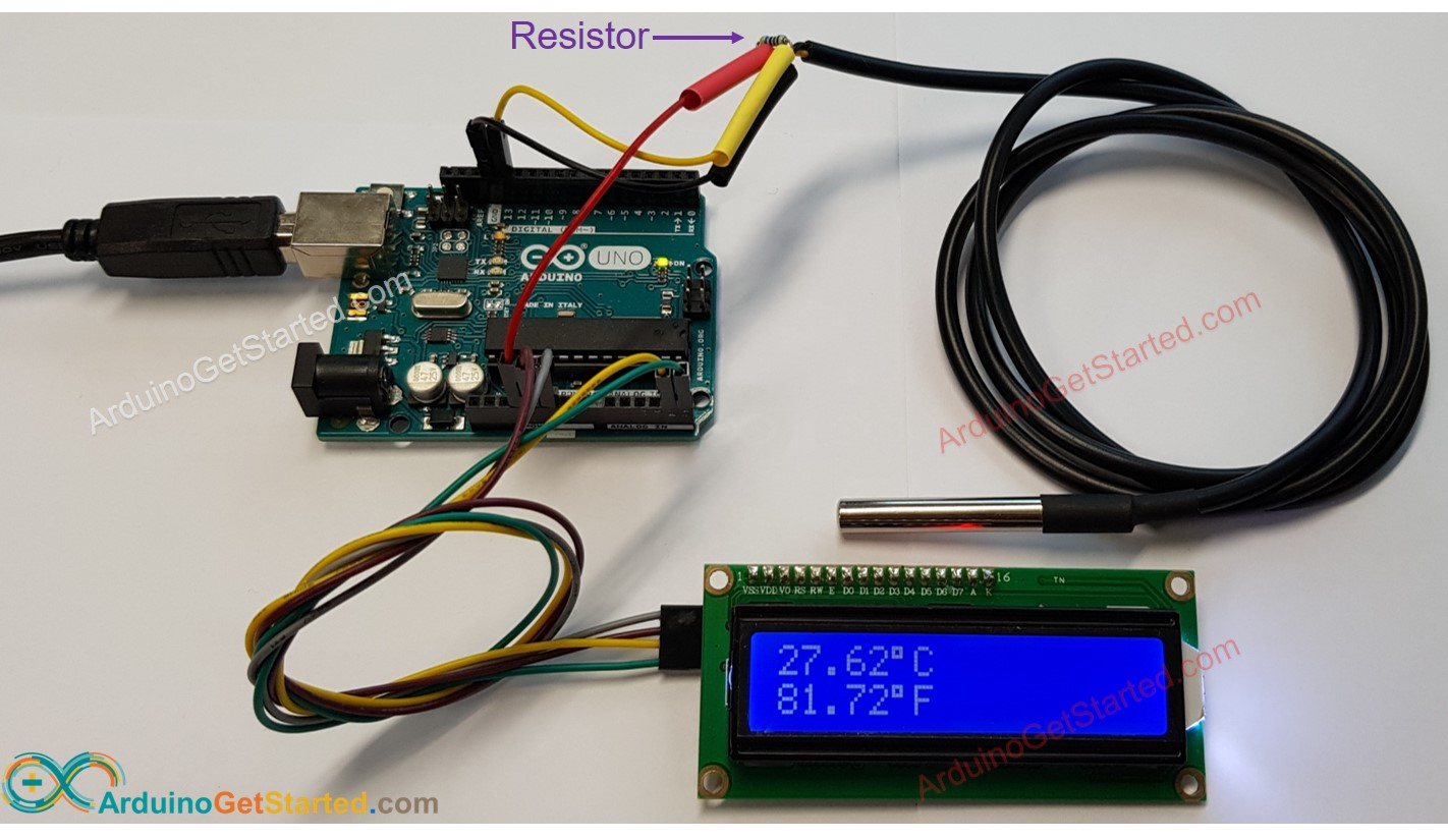 Arduino ds18b20 LCD Wiring Diagram