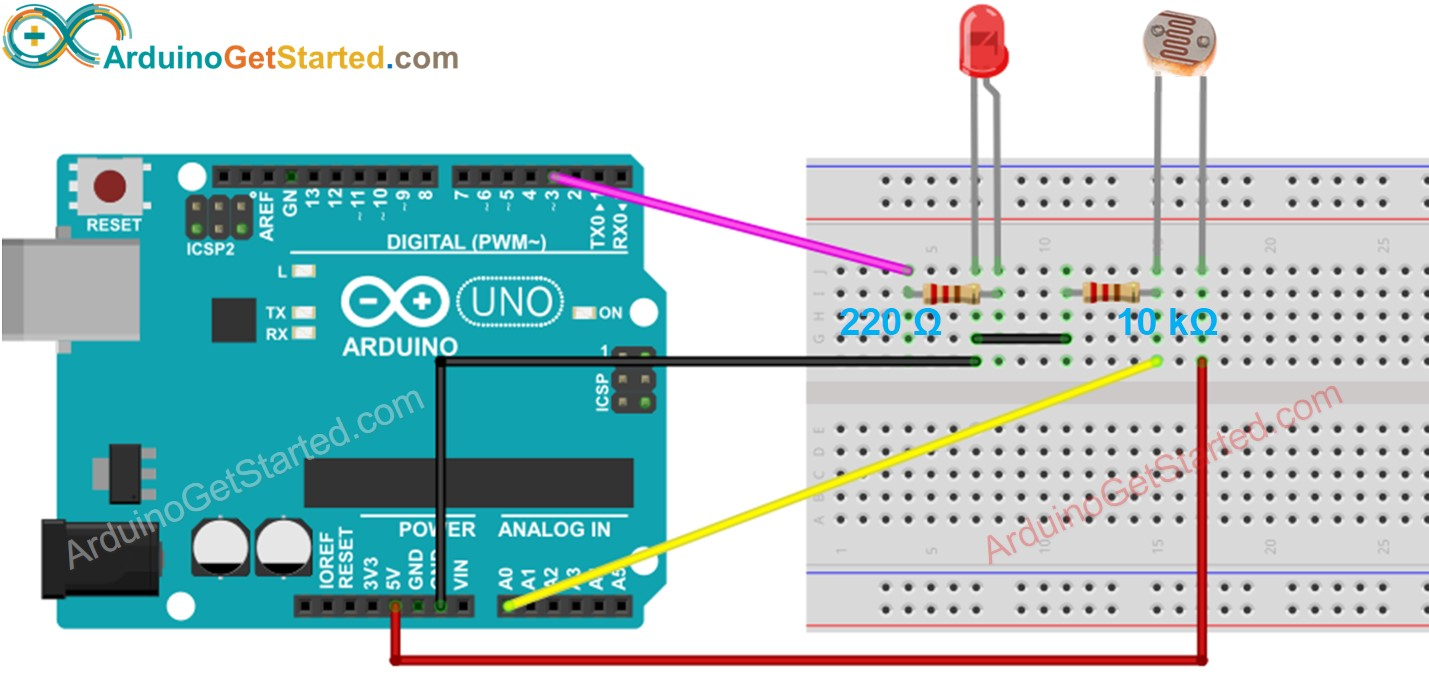 Arduino Light Sensor LED Wiring Diagram