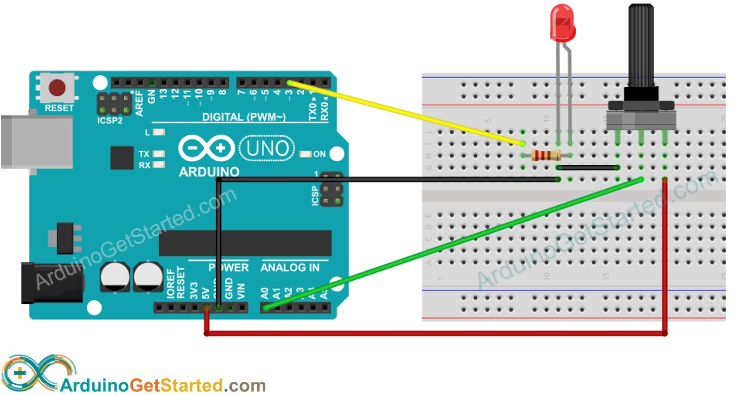 Arduino Rotary Potentiometer LED Wiring Diagram