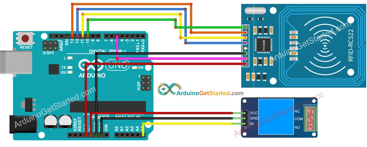 Arduino RFID RC522 relay wiring diagram