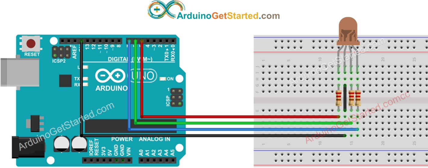 Arduino RGB LED wiring diagram