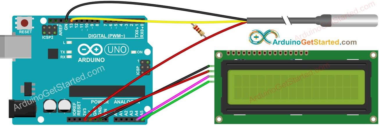 Arduino Temperature Sensor LCD Wiring Diagram