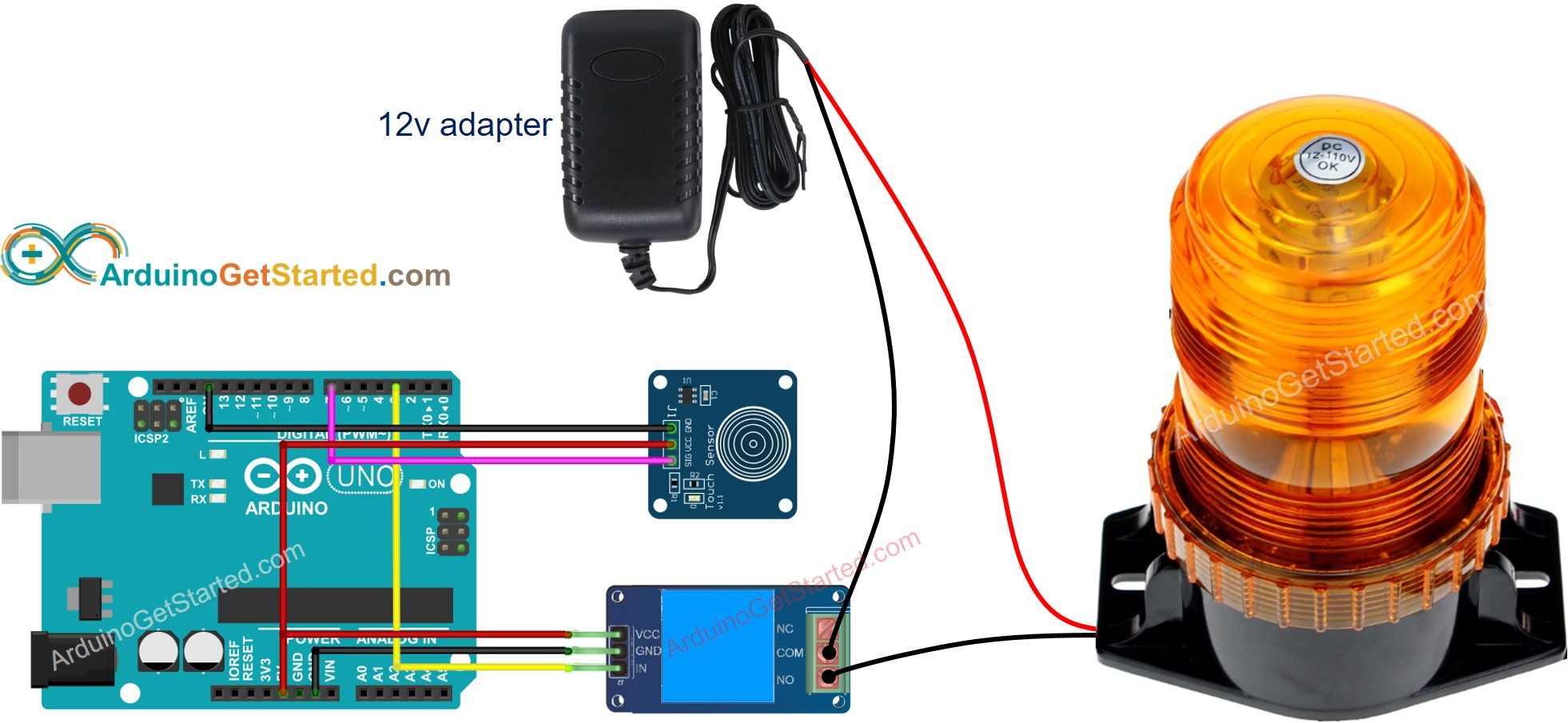 Arduino Touch Sensor Relay Wiring Diagram