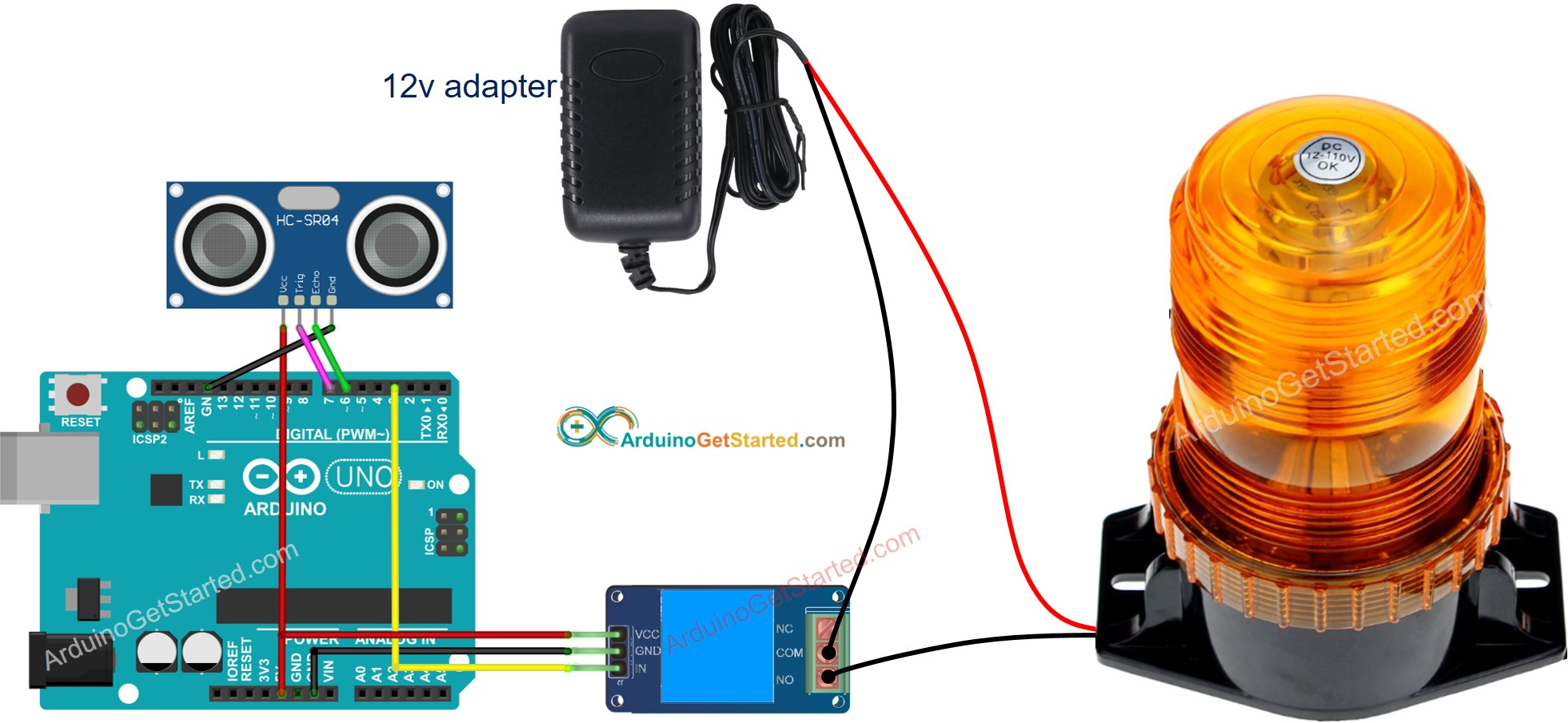 Arduino Ultrasonic Sensor Relay Wiring Diagram