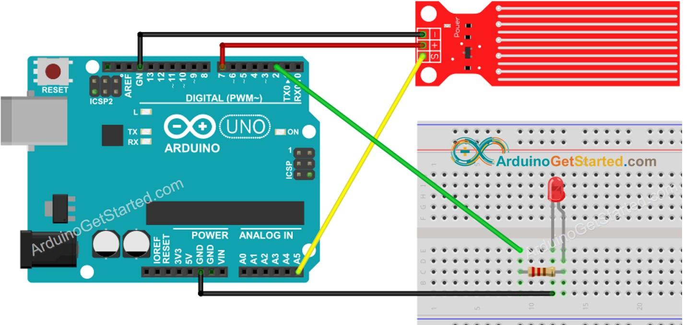 Arduino Water Sensor LED wiring diagram