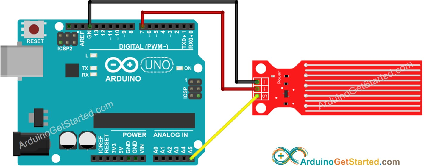 Arduino Water Sensor wiring diagram