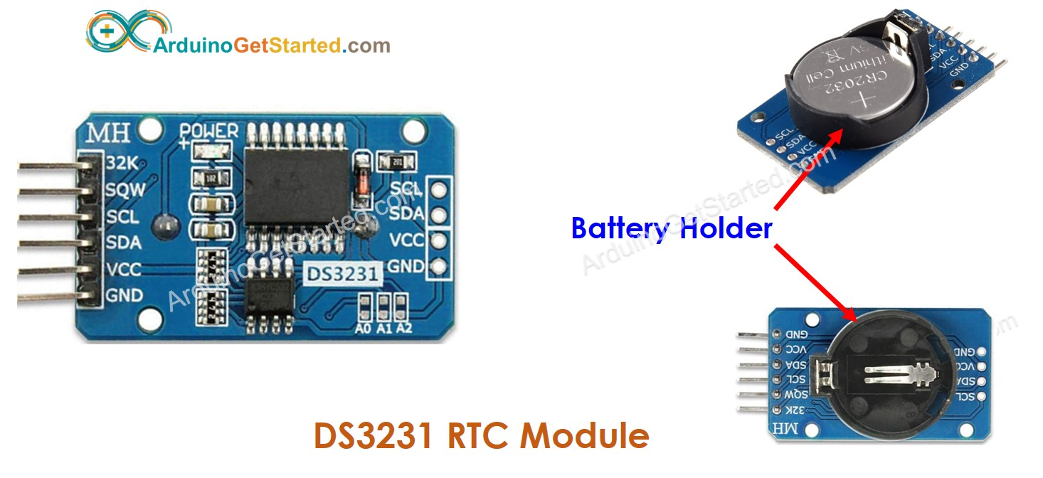 Real-Time Clock DS3231 Module Pinout